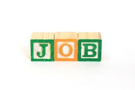 Job in alphabet blocks