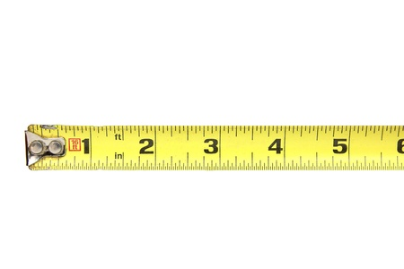 inches: Tape measure to six inches Stock Photo