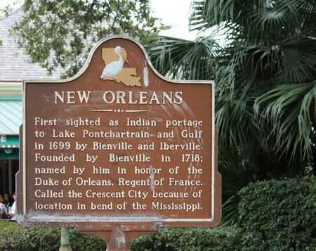 French Quarter, New Orleans, Louisiana, November 2011 - New Orleans history sign