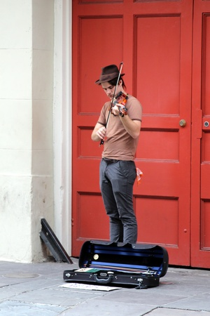 French Quarter, New Orleans, Louisiana, November 2011 - New Orleans street musician Editorial