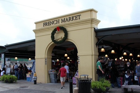 French Quarter, New Orleans, Louisiana, November 2011 - Tourists at the French Market