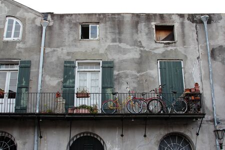 French Quarter, New Orleans, Louisiana, November 2011 - Bicycles on the balcony of an old house Stock Photo - 12143095