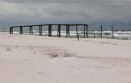 helen: Old pier destroyed by a hurricane