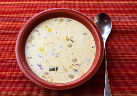 chowder: Chowder in a red bowl