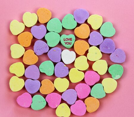 Candy hearts with Love You Banco de Imagens