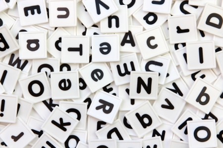 White and black alphabet letter tiles