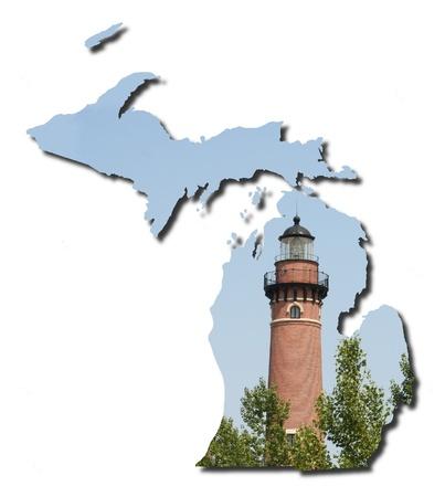 lake michigan lighthouse: Michigan faro Foto de archivo