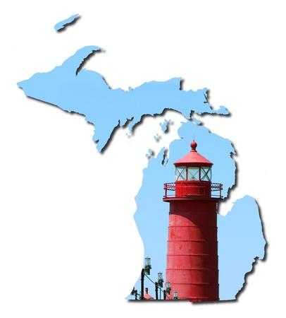 lake michigan lighthouse: Del estado de Michigan y un faro Foto de archivo