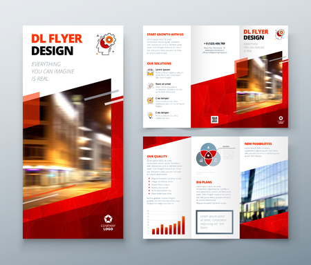 Tri fold brochure design. Red DL Corporate business template for try fold brochure or flyer. Layout with modern elements and abstract background. Creative concept folded flyer or brochure. Vektoros illusztráció