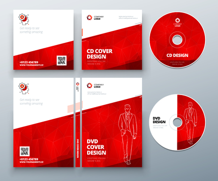 digi: CD envelope, DVD case design. Red Corporate business template for CD envelope and DVD case. Layout with modern triangle elements and abstract background. Creative vector concept