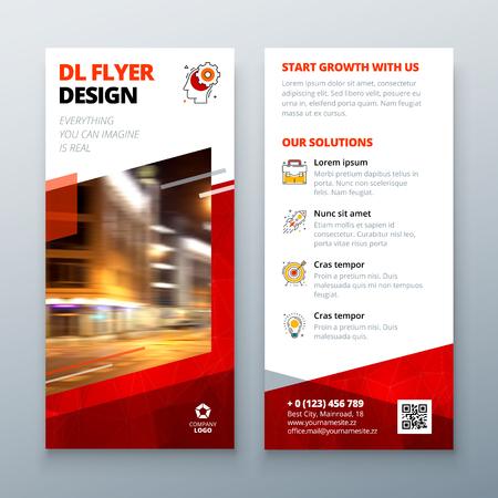 DL flyer design layout. DL Corporate business template for flyer. 向量圖像