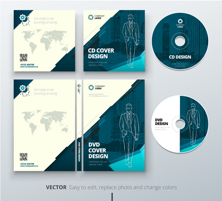 CD envelope, DVD case design. Teal Corporate business template for CD envelope and DVD case. Layout with modern triangle elements and abstract background. Creative vector concept