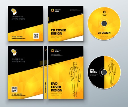 digi: CD envelope, DVD case design. Black Yellow Corporate business template for CD envelope and DVD case. Layout with modern triangle elements and abstract background. Creative vector concept