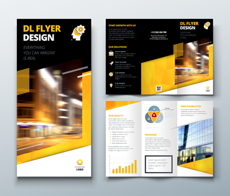 Tri fold brochure design. Black Yellow DL Corporate business template for try fold brochure or flyer. Layout with modern elements and abstract background. Creative concept folded flyer or brochure.