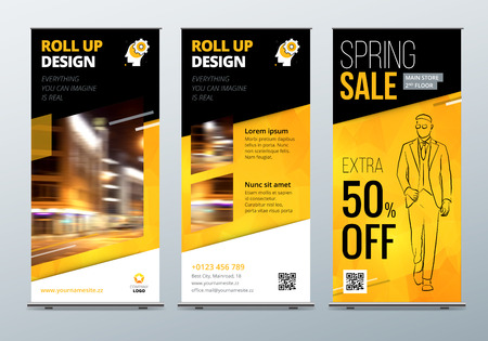 boutique display: Roll Up banner stand. Presentation concept. Black Yellow Corporate business roll up template background. Vertical template billboard, banner stand flag design layout. Poster for conference forum, shop