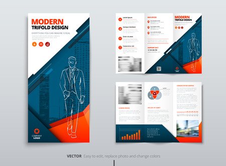 Tri fold brochure design. Blue orange DL Corporate business template for try fold brochure or flyer. Layout with modern elements and abstract background. Creative concept folded flyer or brochure.