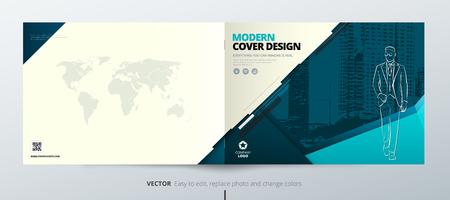 Landscape Brochure design. Teal Corporate business template for brochure report catalog magazine book booklet.