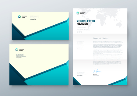Envelope DL, C5, Letterhead. Teal Corporate business template for envelope and letter. Layout with modern triangle elements and abstract background. Creative vector concept