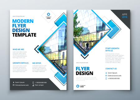 Flyer Design. Corporate business report cover, brochure or flyer design. Leaflet presentation. Teal Flyer with abstract circle, round shapes background. Modern poster magazine, layout, template. A4.