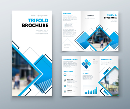 Tri fold brochure design. Corporate business template for tri fold flyer with rhombus square shapes.