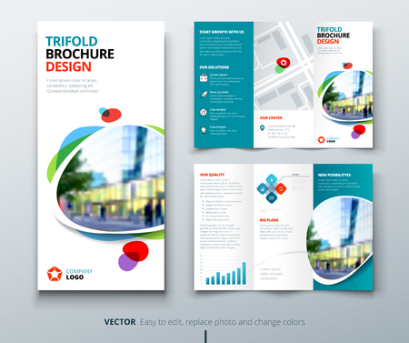 Business tri fold brochure design. Teal, orange corporate business template for tri fold flyer. Layout with modern square photo and abstract background. Creative concept 3 folded flyer or brochure.