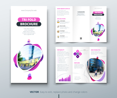 Business tri fold brochure design. Pink, purple template for tri fold flyer. Layout with modern square photo and abstract background. Creative concept folded flyer or brochure.