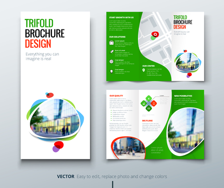 Business tri fold brochure design. Green orange template for tri fold flyer. Layout with modern square photo and abstract background. Creative concept folded flyer or brochure.