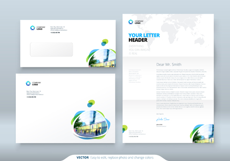 slick: Envelope DL, C5, Letterhead. Corporate business template for envelope and letter. Layout with modern colored spots abstract background. Creative vector