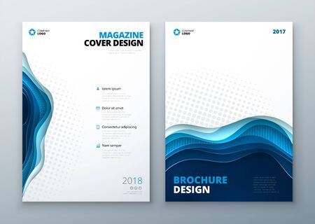 catalog: Paper cut brochure design. Paper carve abstract cover for brochure flyer magazine anual report or catalog design. Brochure in teal blue colors