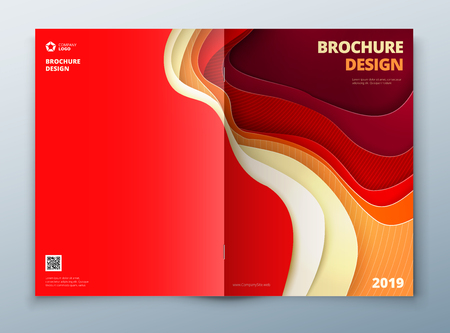 catalog: Catalog cover design. Paper carve abstract cover for brochure flyer magazine or catalog design. Cover in red orange yellow color for catalog