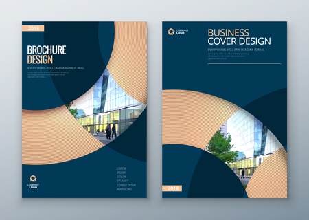 Brochure template layout design. Corporate business annual report, catalog, magazine, flyer mockup. Creative modern bright concept circle round shape Foto de archivo