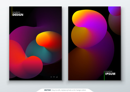 Liquid Cover set. Template for brochure, banner, plackard, poster, report, catalog, magazine, flyer etc. Modern liquid or fluid abstract background. Ilustração
