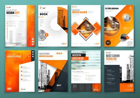 カバー デザインしてください。パンフレット、報告書、カタログ、雑誌、書籍、冊子のオレンジ企業ビジネスのテンプレートです。モダンな要素と