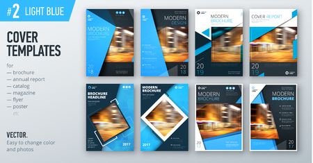 Set of business cover design template in blue color. Ilustracja