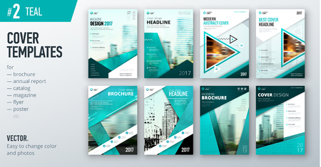 Set of business cover design template in teal color.