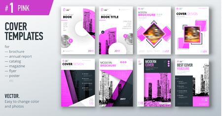 브로셔, 보고서, 카탈로그, 잡지 또는 책자 핑크 컬러로 비즈니스 표지 디자인 서식 파일의 집합입니다. 크리 에이 티브 벡터 배경 개념 벡터 (일러스트)