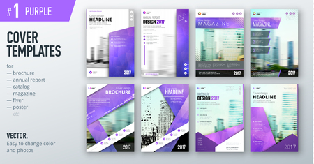 Set of business cover design template in purple color for brochure, report, catalog, magazine or booklet.