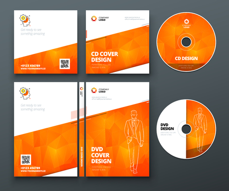 CD envelope, DVD case design. Orange Corporate business template for CD envelope and DVD case. Layout with modern triangle elements and abstract background. Creative vector concept