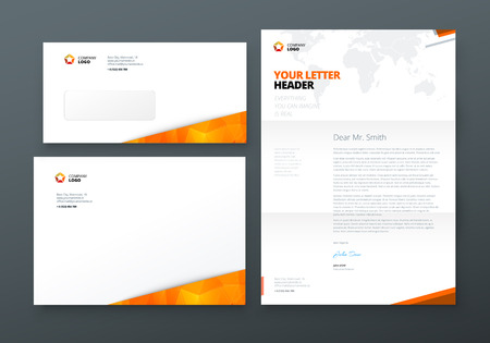Envelope DL, C5, Letterhead. Orange Corporate business template for envelope and letter. Layout with modern elements and abstract background. Creative vector concept Ilustrace