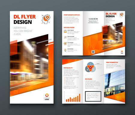 Projekt broszury składanej na trzy części. Pomarańczowy DL Corporate szablon biznesowy do wypróbowania złożyć broszurę lub ulotkę. Układ z nowoczesnymi elementami i abstrakcyjnym tłem. Koncepcja kreatywna składana ulotka lub broszura. Ilustracje wektorowe