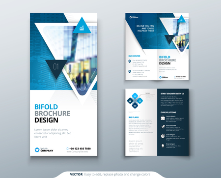 Bi-fold brochure design. Blue template for bi fold flyer. Layout with modern triangle photo and abstract background. Creative concept folded flyer or brochure. Vectores