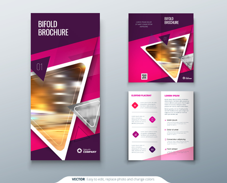 Bi-fold brochure design. Pink, purple template for bi fold flyer. Layout with modern triangle photo and abstract background. Creative concept folded flyer or brochure. Vector Illustration
