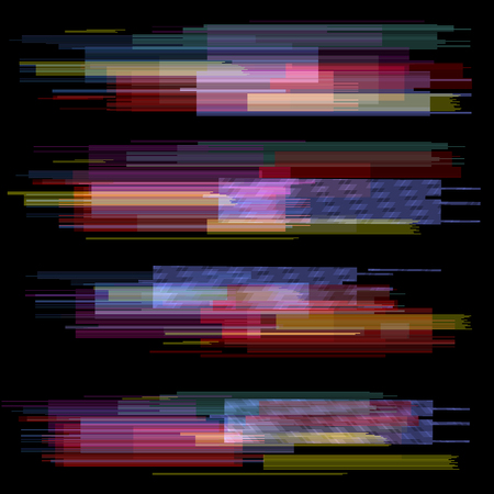 Glitch elements set. Digital pixel noise color abstract design. Video game glitch. Glitches collection. Grunge background. Vectores