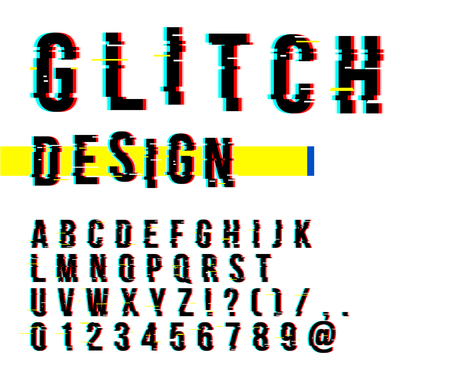 Trendy style distorted glitch typeface. Letters and numbers vector illustration. Glitch font design.
