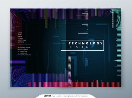 Trendy glitch covers design with geometric pattern. Modern vector illustration. Foto de archivo - 95814921