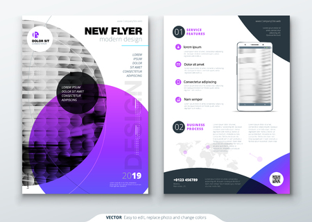 A Flyer template layout design for  Business flyer, brochure, magazine or flyer mockup in bright colors Vector abstract design.