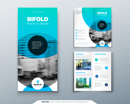 Tri-fold brochure design. Blue business template for tri-fold flyer. Layout with modern circle photo and abstract background. Creative 3 folded flyer or brochure concept.