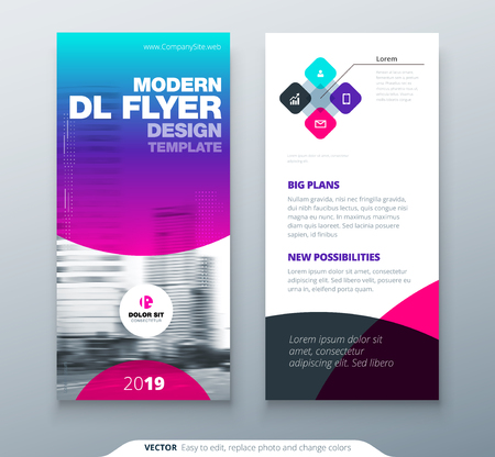 DL Flyer design. Purple business template for dl flyer. Layout with modern circle photo and abstract background. Creative flyer or brochure concept.