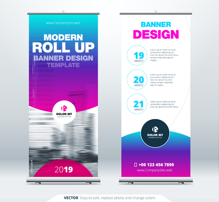 Roll Up banner stand presentation concept. Corporate business roll up template background. Vertical template billboard, banner stand or flag design layout. Poster for conference, forum, shop Imagens - 99088969