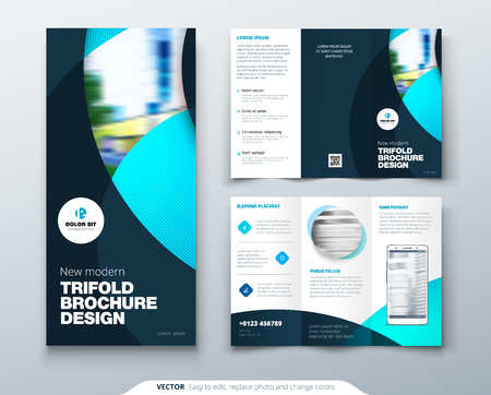 Tri fold brochure design with circle, corporate business template for tri fold flyer. Layout with modern photo and abstract circle background. Creative concept folded flyer or brochure